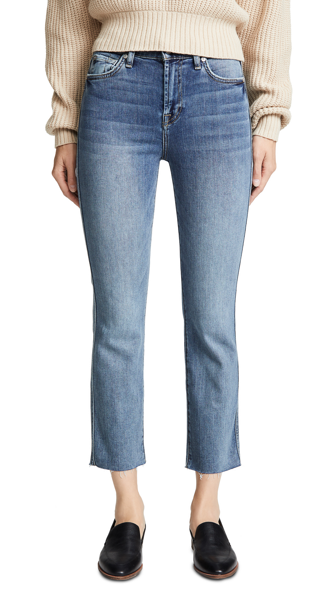 7 For All Mankind Edie B(air) Authentic Raw Hem Jeans In B(Air) Authentic Fortune