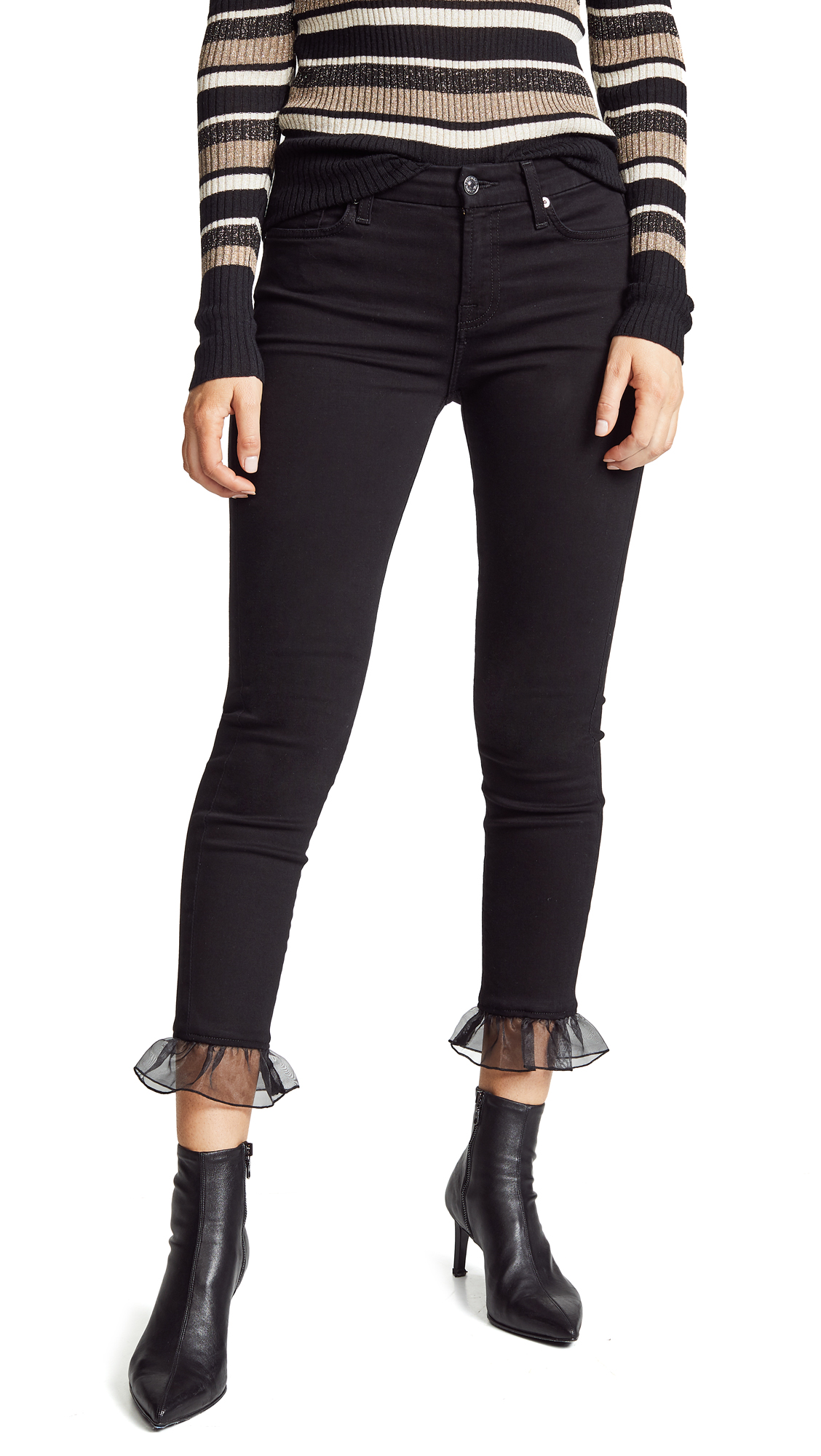 7 For All Mankind The Ankle Skinny Jeans with Organza Hem - B(Air) Black