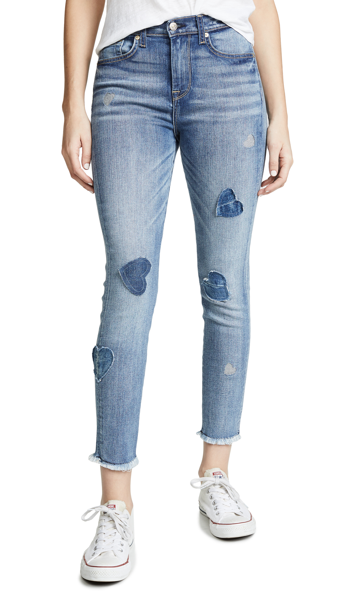 7 For All Mankind Ankle Skinny Jeans with Patches - Indigo With Heart Patch