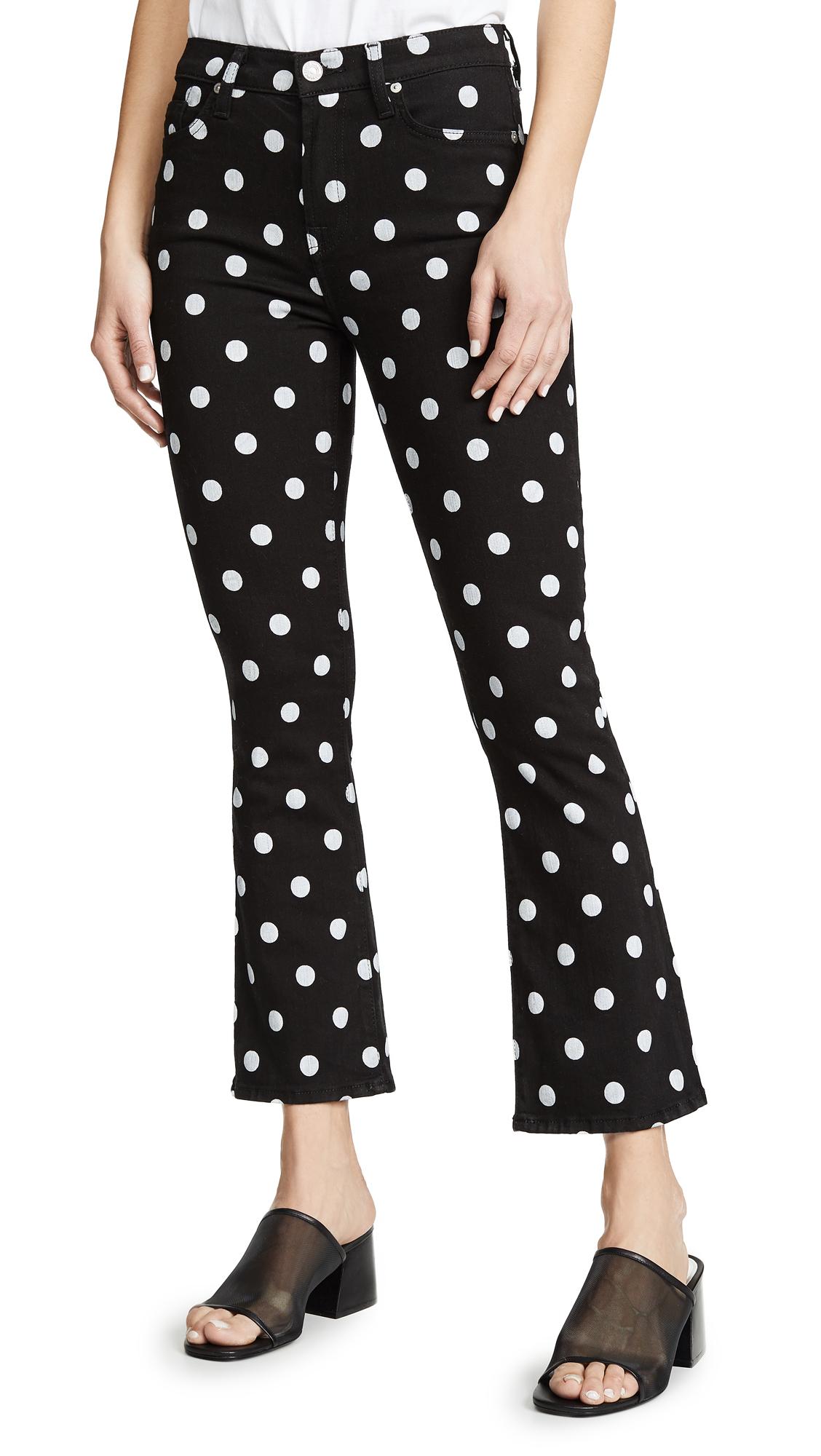 7 For All Mankind High Waist Slim Kick Jeans - Black/White Polka Dots