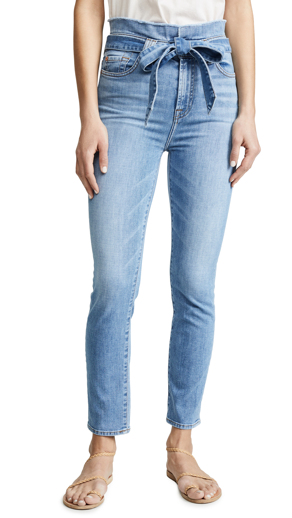 7 For All Mankind Paperbag Jeans - Bright Blue Jay