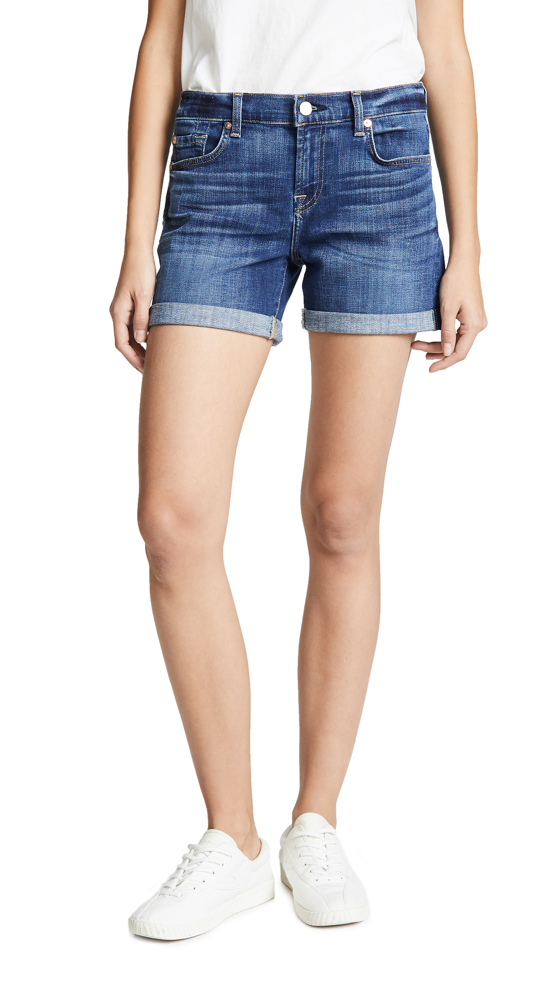 7 For All Mankind Relaxed Mid Roll Shorts - Broken Twill Vanity