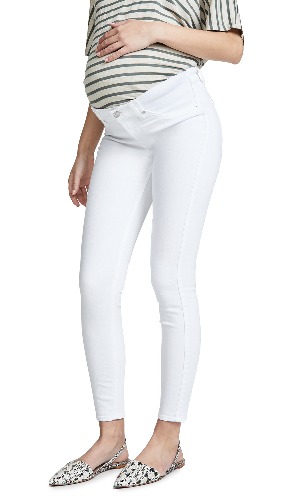 7 For All Mankind Ankle Skinny Maternity Jeans with Faux Front Pockets - Clean White