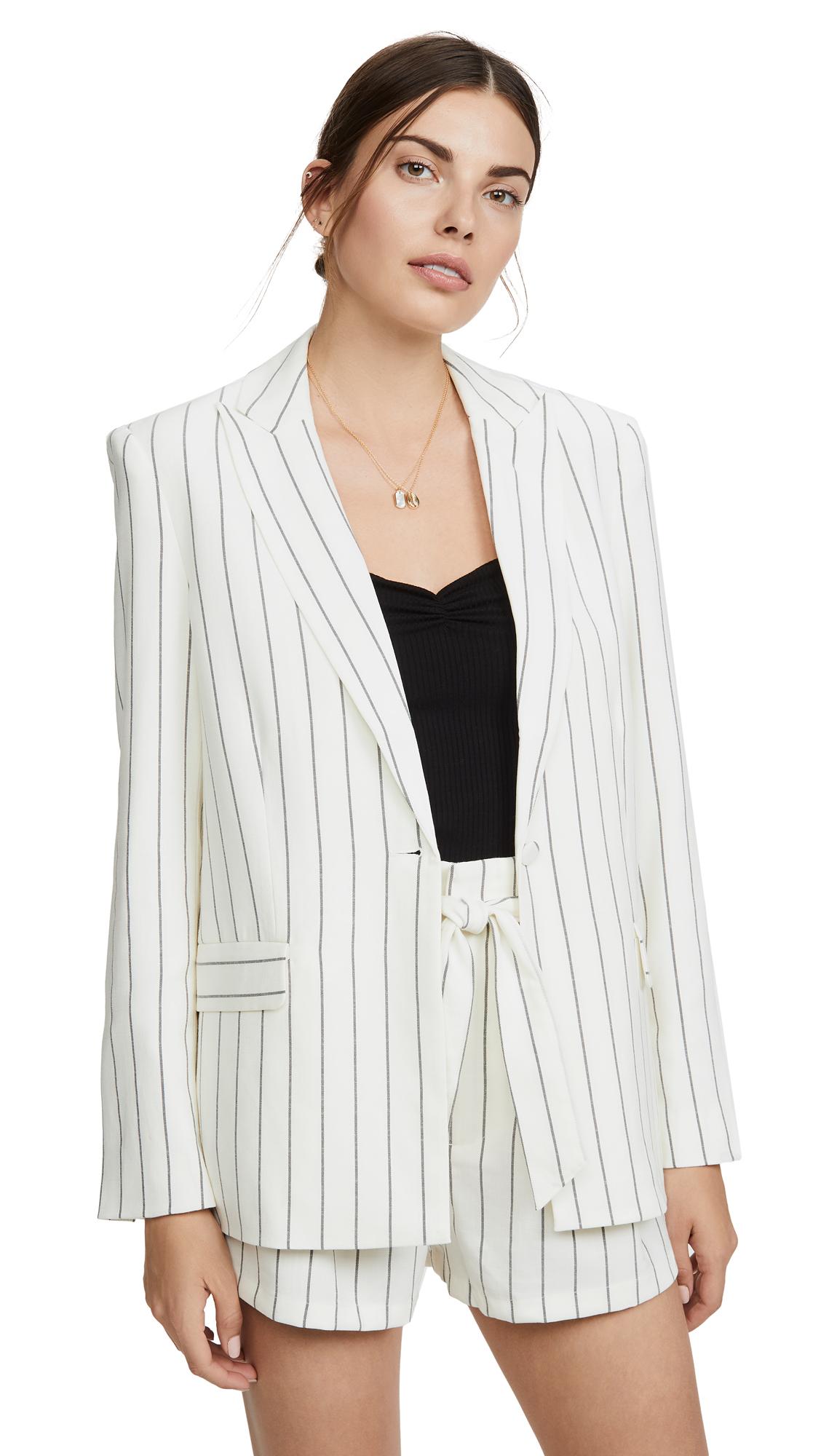 7 For All Mankind Pinstripe One-button Boyfriend Blazer In White/black Stripe