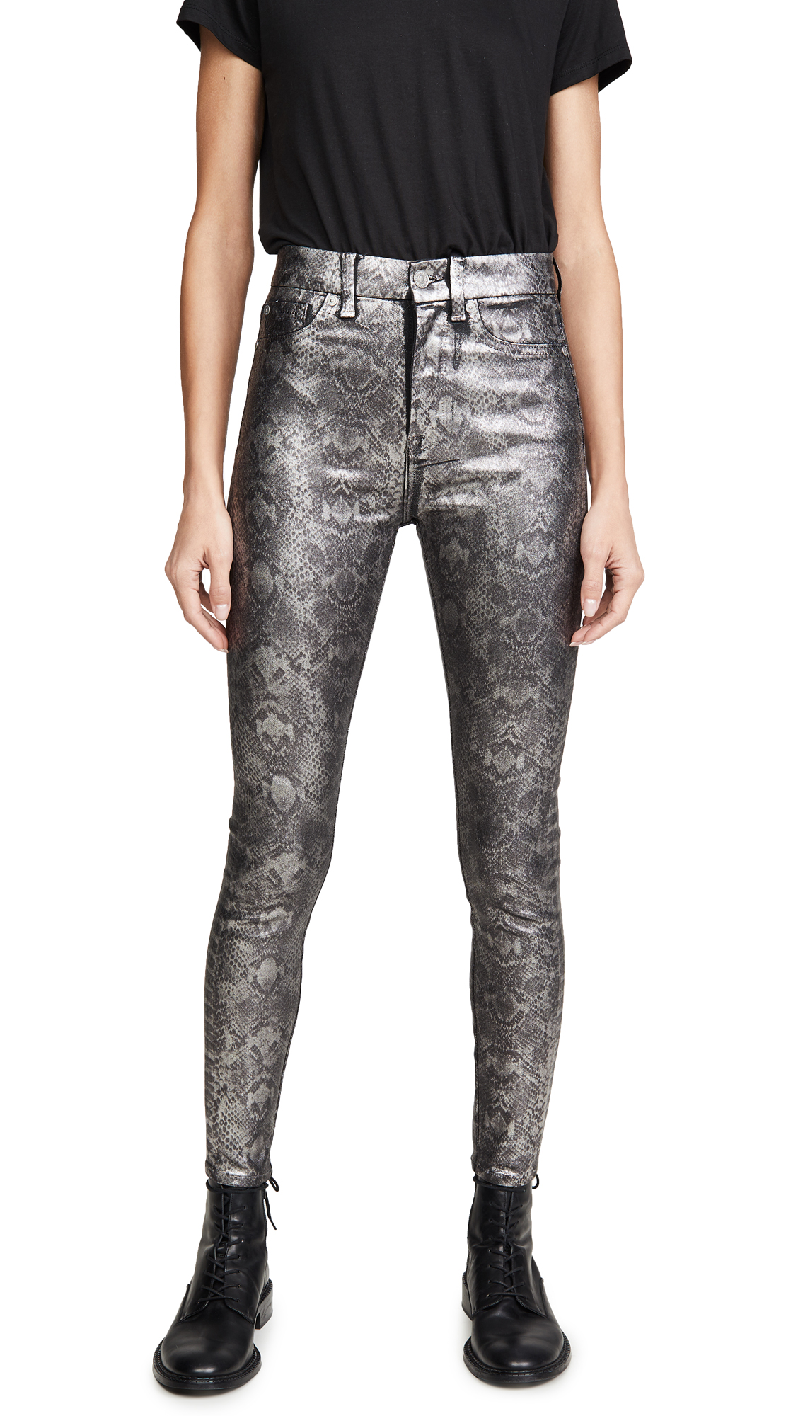 7 For All Mankind High Waisted Ankle Skinny Jeans In Coated Pewter Python