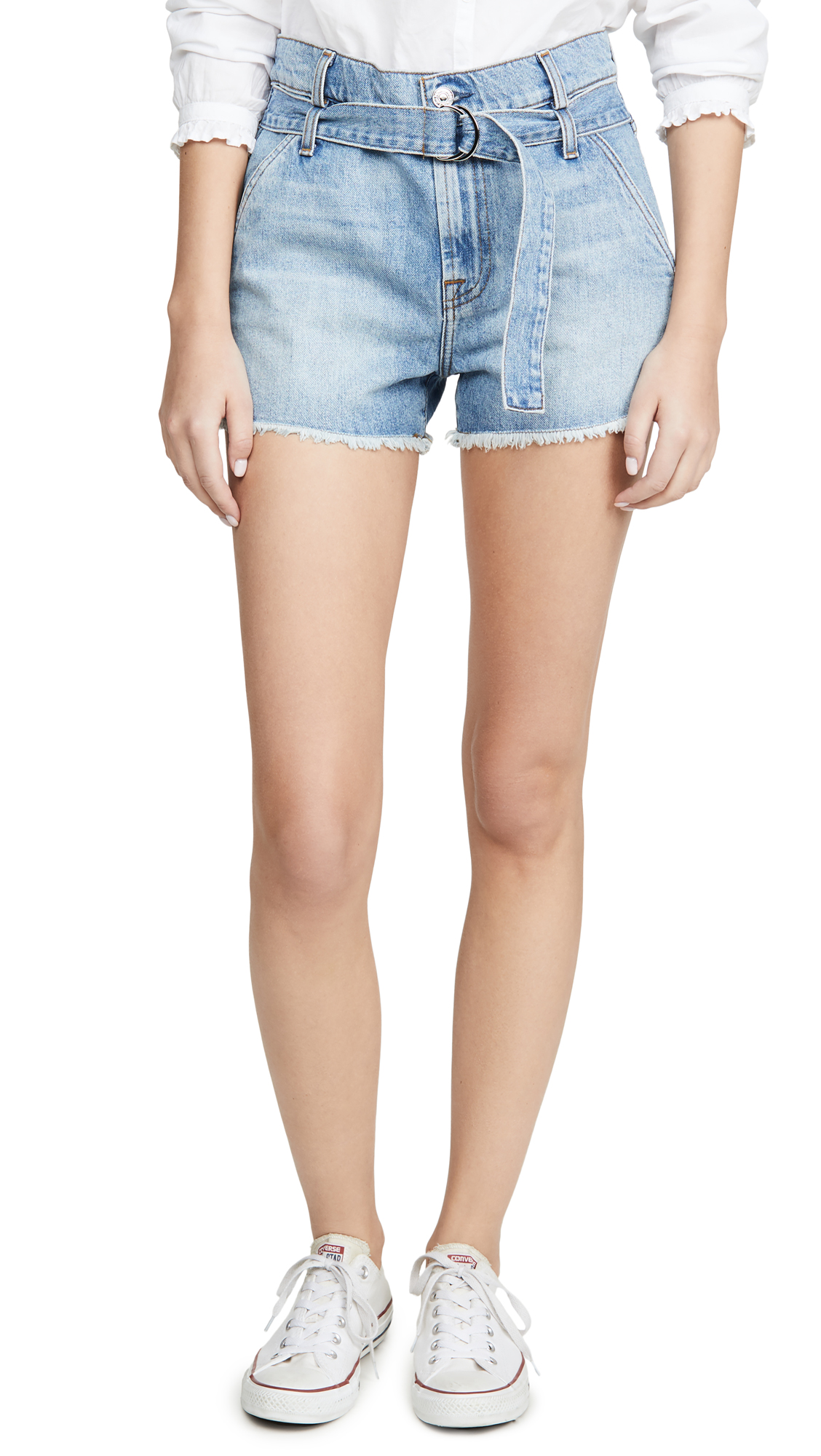 7 For All Mankind Paperbag Shorts In Prairie Sky