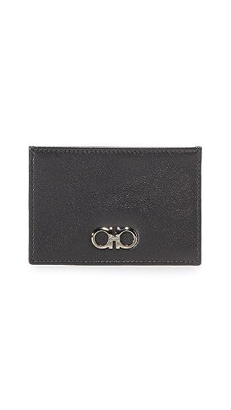 Salvatore Ferragamo Gancio Two Leather Card Case