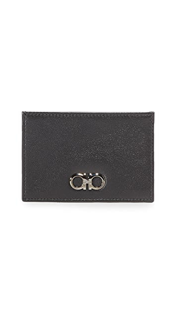 Salvatore Ferragamo Gancio Two Leather Card Case