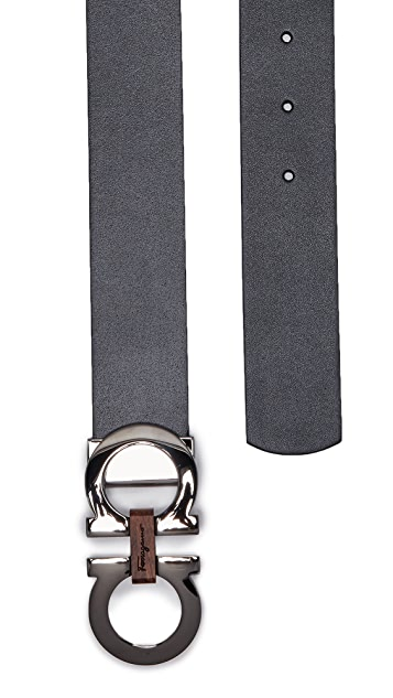 Salvatore Ferragamo Double Gancio Reversible Belt with Wood Detail
