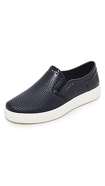 Salvatore Ferragamo Fly Perforated Rubber Slip Ons