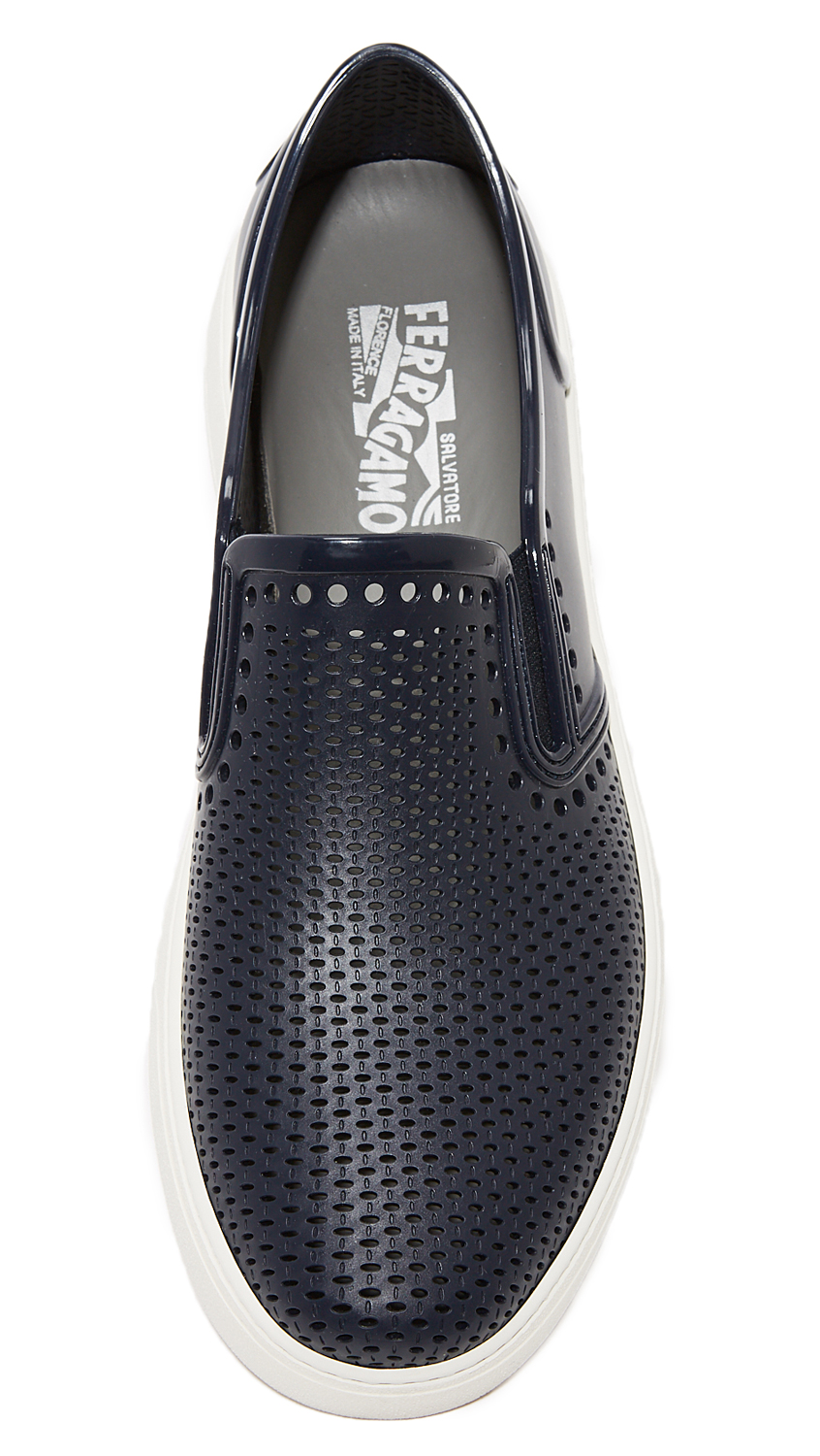 38fd48732 Salvatore Ferragamo Fly Perforated Rubber Slip Ons