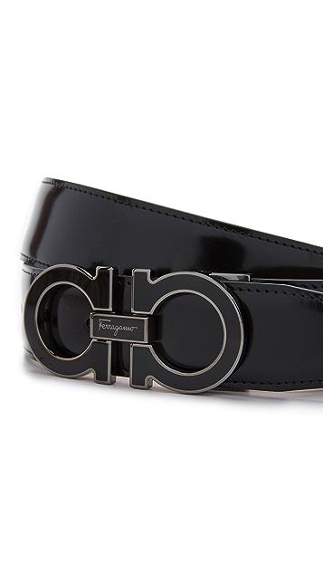 Salvatore Ferragamo Double Gancio Outline Leather Belt