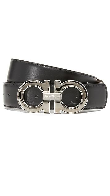 Salvatore Ferragamo Double Gancio Enamel Reversible Leather Belt