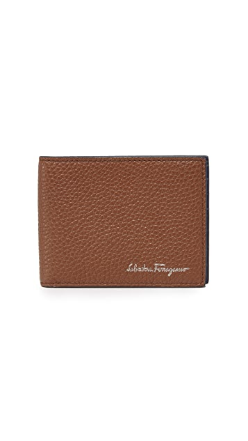 Salvatore Ferragamo Pebbled Leather Wallet with Smooth Interior