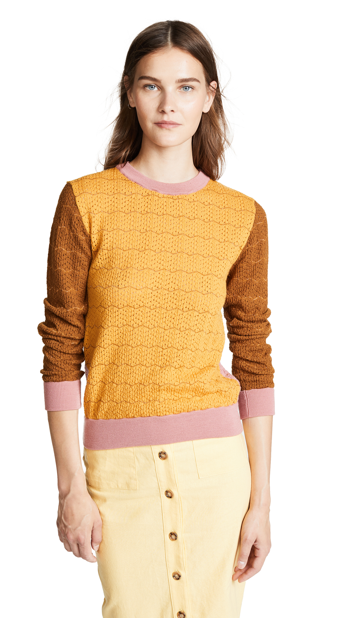 STINE GOYA Naamah Knit Colorblock Sweater in Brown