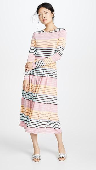 Stine Goya Joel Striped Jersey Midi Dress In Stripes