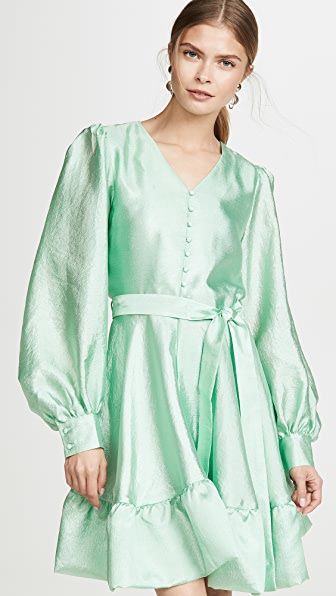 Stine Goya Farrow Button-front Satin Tie-waist Dress In Green