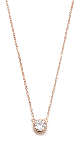 Shashi Solitaire Necklace - Rose Gold/Clear