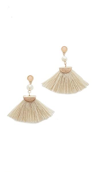 Shashi Mia Tassel Fan Earrings In White
