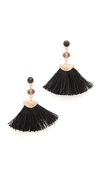 Shashi Mia Tassel Fan Earrings - Black