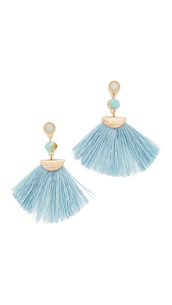 Shashi Mia Tassel Fan Earrings - Blue