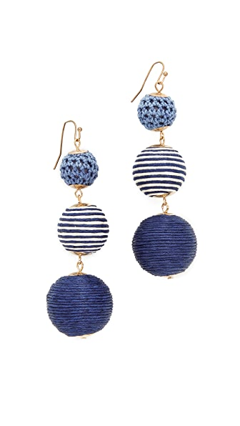 Shashi Matilda Striped Earrings In Navy