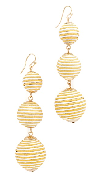 Shashi Marie Striped Earrings - Yellow