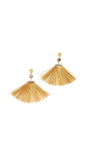 Shashi Mia Fan Tassel Earrings In Yellow