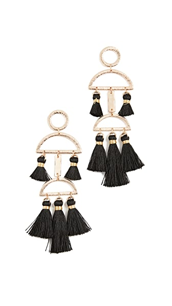 Shashi Alicia Tassel Earrings In Black