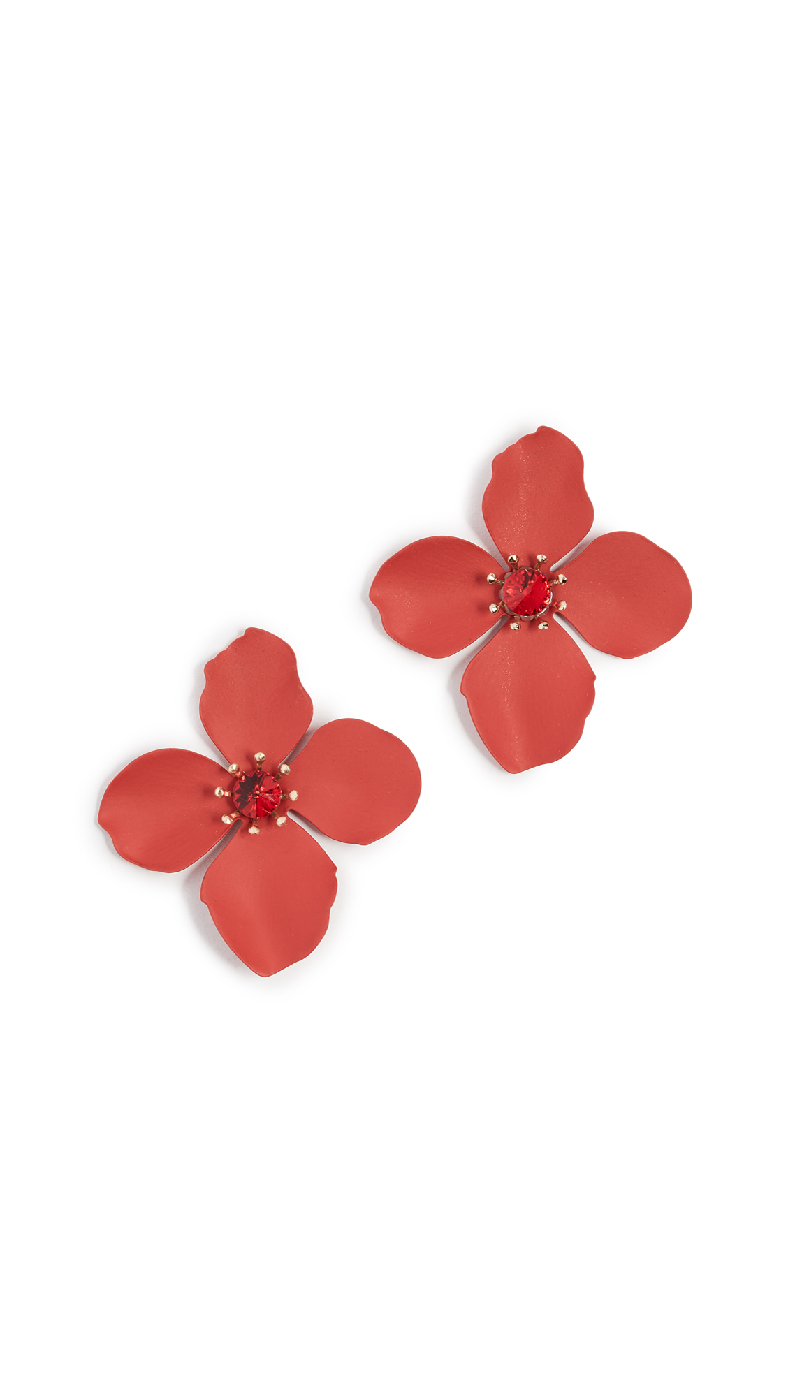 red large earrings marni by floral flower pendant operandi leather moda loading