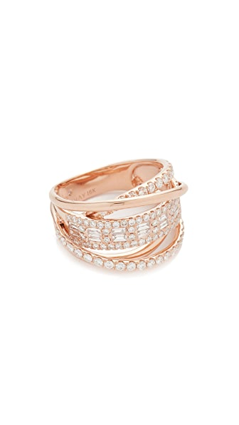 Shay Essential Orbit Diamond 18k Gold Ring In Rose Gold/White Diamond