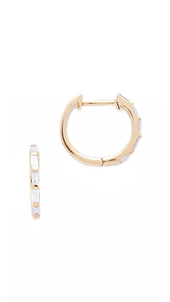 Shay Mini Baguette 18k Gold Diamond Huggie Earrings - Gold/White Diamond