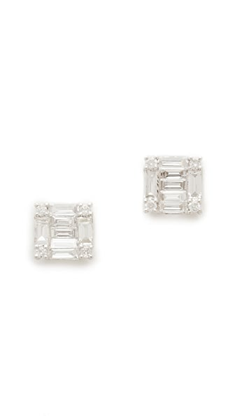 Shay 18k White Gold Square Stacked Baguette Stud Earrings