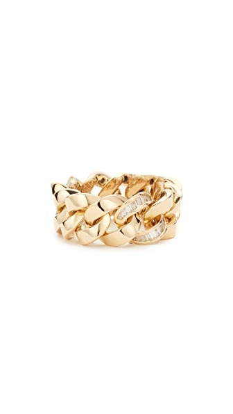 Shay 18k Gold Single Baguette Diamond Jumbo Link Ring - Yellow Gold