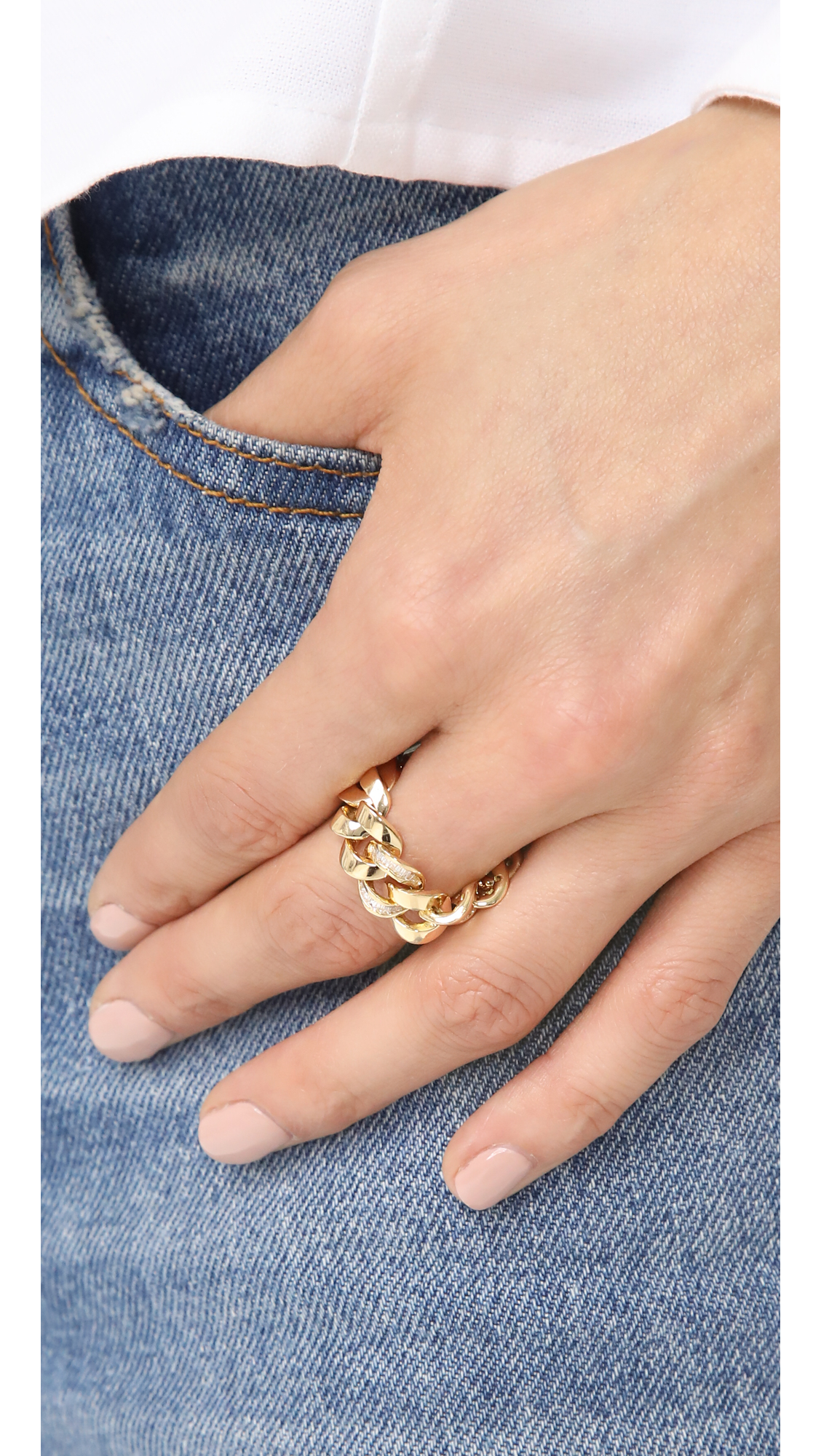 Shay 18k Gold Single Baguette Diamond Jumbo Link Ring KyQeAccP