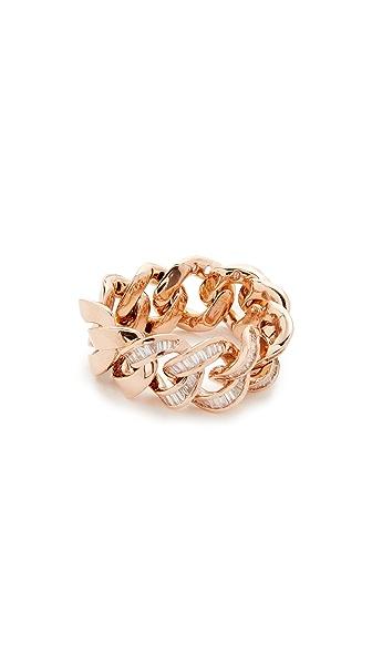 Shay 18k Gold Baguette Diamond Jumbo Link Ring In Rose Gold