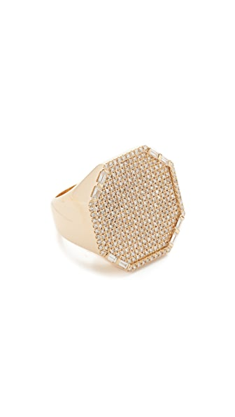 Shay 18k Gold Jumbo Pave Octagon Signet Ring - Yellow Gold