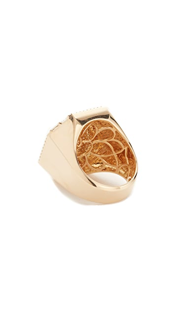 Shay 18k Gold Jumbo Pave Octagon Signet Ring