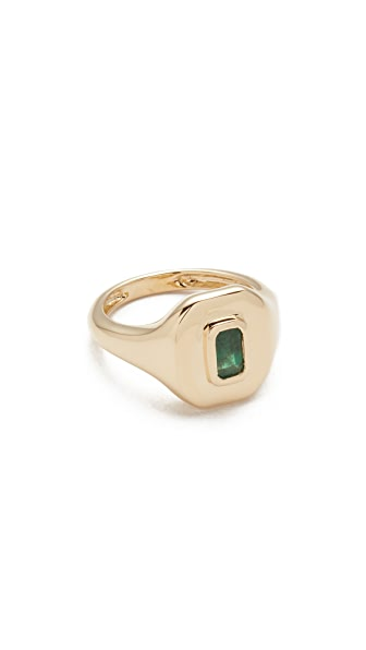 Shay 18k Gold Baguette Essential Pinky Ring - Gold/Emerald