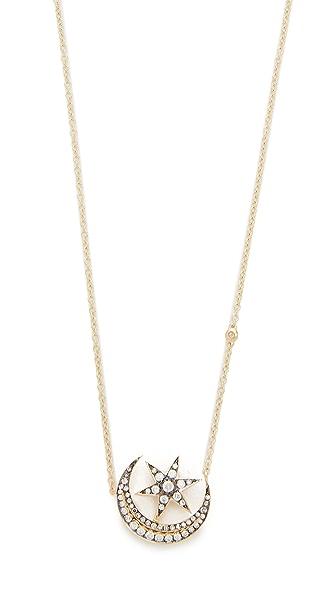 Shay 18k Gold Crescent Moonstar Necklace