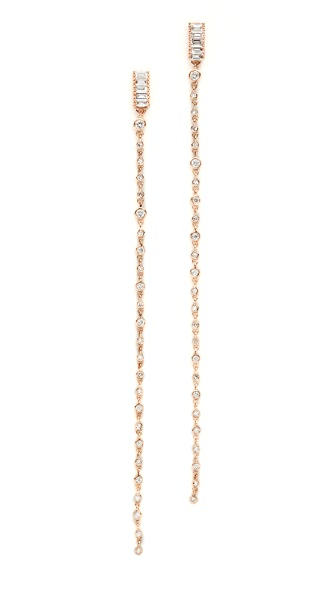 Shay 18k Gold Infinity Diamond Chain Earrings - Rose Gold