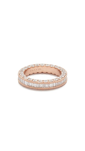 Shay 18k Gold 3 Sided Eternity Ring with Baguette Diamond Center - Rose Gold
