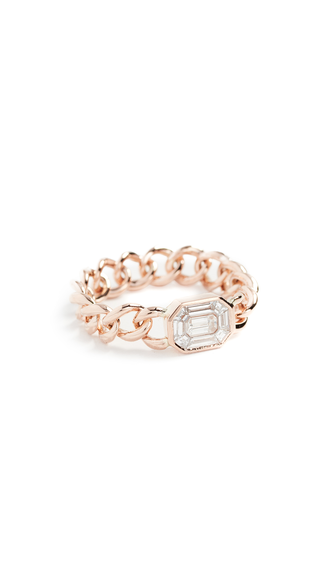 SHAY 18K ILLUSION EMERALD CUT DIAMOND LINK RING