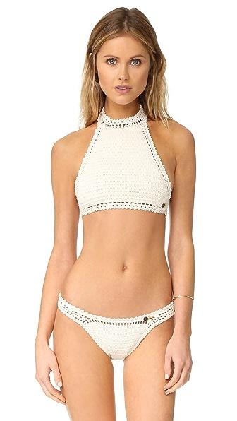 She Made Me Essentials Halter Crochet Bikini Top