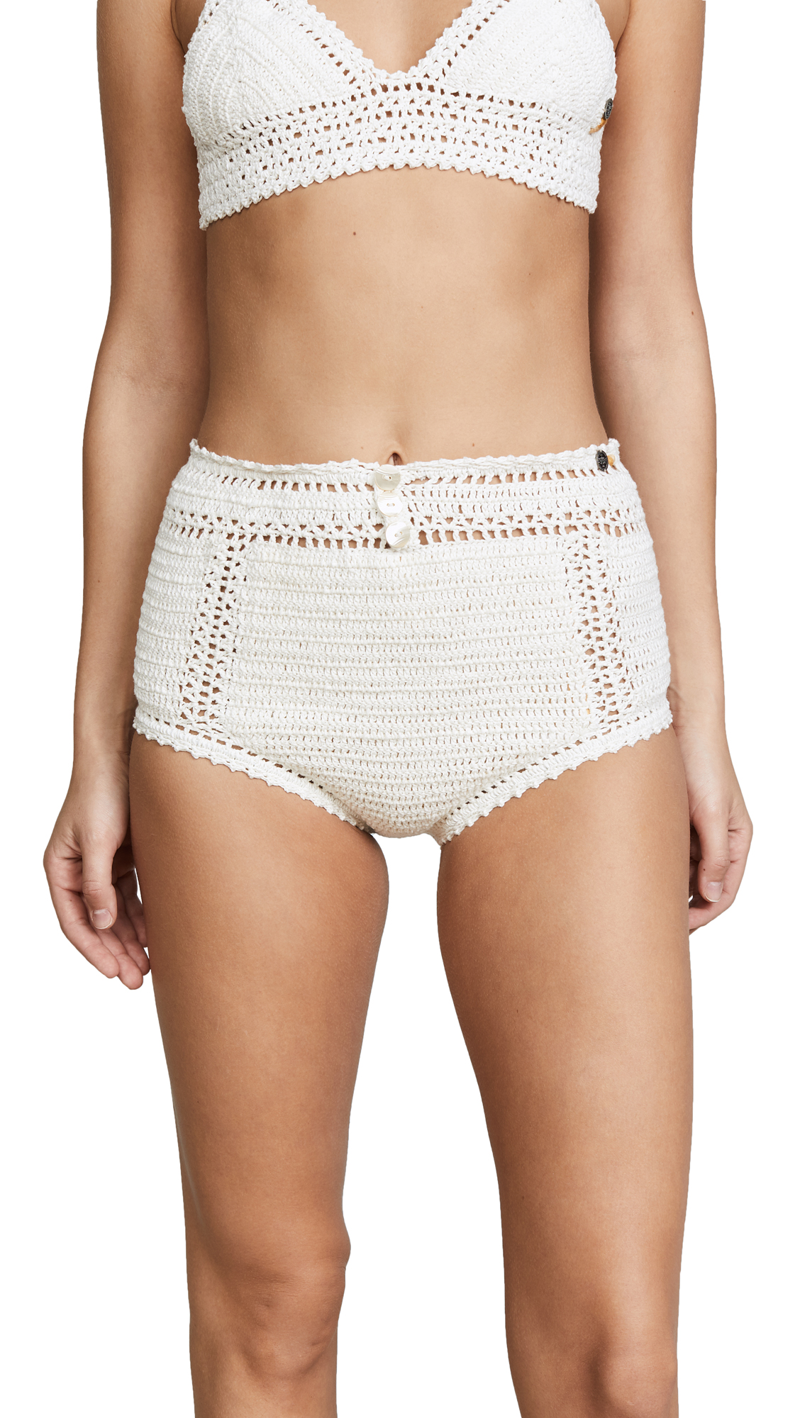 She Made Me Essential Cotton Crochet High Waist Bikini Bottoms In Natural