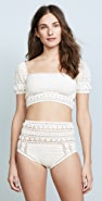 She Made Me Rose Crochet Crop Bikini Top