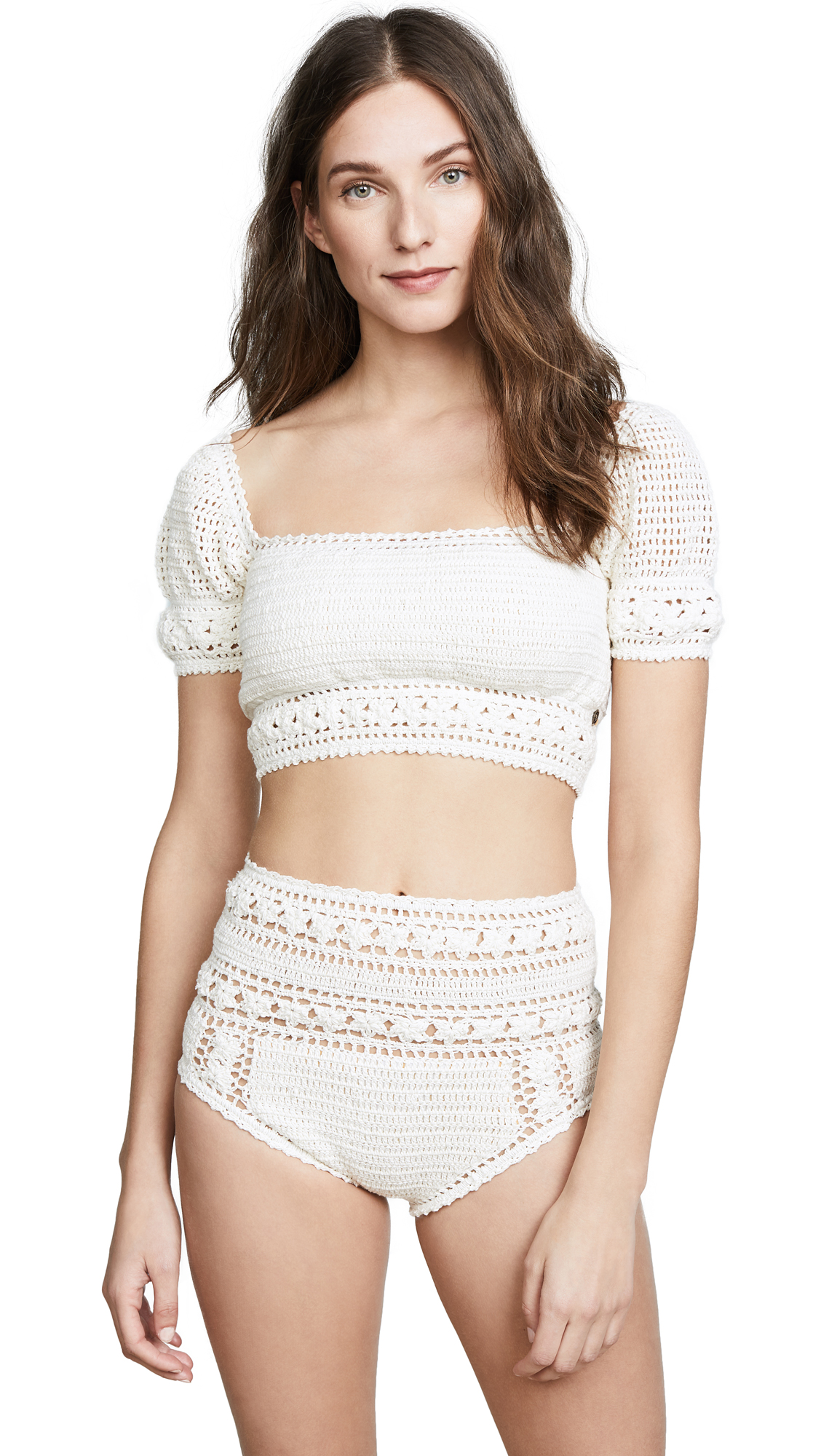 Buy She Made Me online - photo of She Made Me Rose Crochet Crop Bikini Top