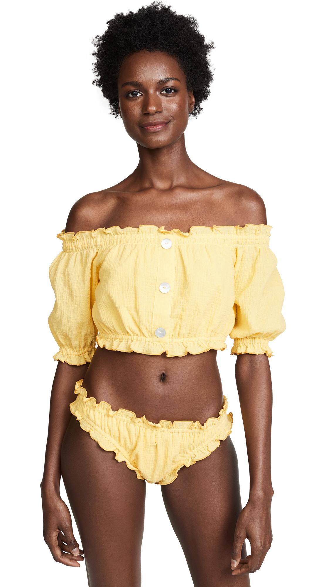 She Made Me Kali Off the Shoulder Sunsuit Top - Sunshine