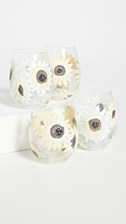 Shopbop @Home Set of 4 Sunflower Stemless Wineglasses