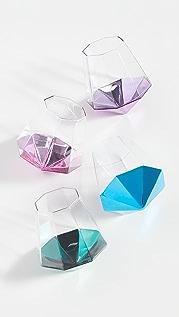 Shopbop @Home 4 件装菱形无柄玻璃杯